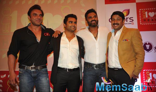 Sohail,Sachiin,Sunil And Manoj At 100 Hearts Social Initiative Launch By CCL