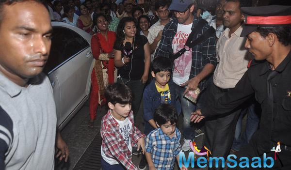 Hrithik Roshan Arrived With His Kids For Aaradhya Bachchan 3rd Birthday Party
