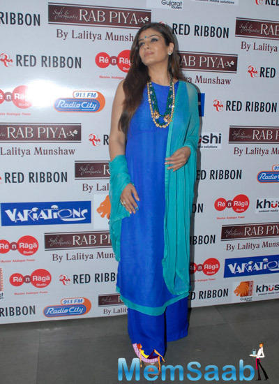 Raveena Tandon Looked Graceful In A Blue And Green Indian Outfit At Lalitya Munshaw Concert