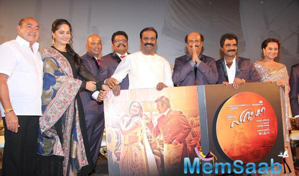 Anushka Shetty,Rajinikanth,Sonakshi Sinha And Others Posed During The Audio Launch Of Lingaa Movie