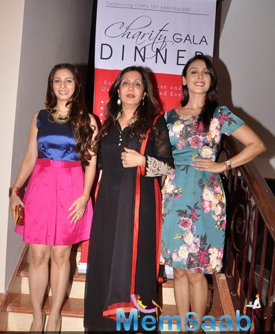 Tanishaa Mukerji With Dr.Sunita Banerjee And Hrishitaa Bhatt Posed At Charity Gala Dinner By Chip