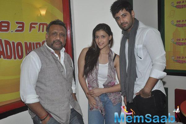 Anubhav Sinha,Mannara And Karanvir Sharma Posed During The Promotion Of Zid At Radio Mirchi