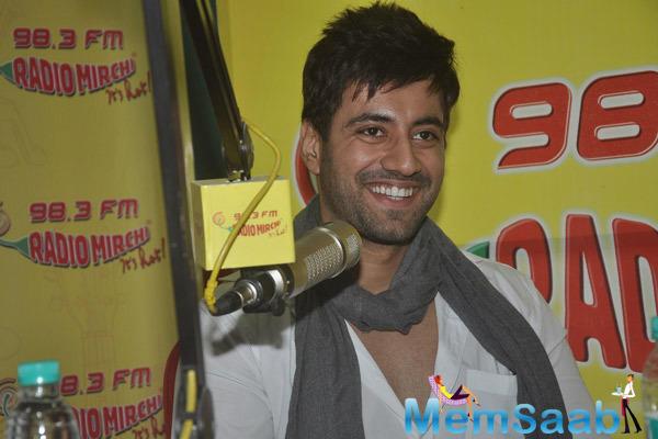 Karanvir Sharma Smiling Pose During The Promotion Of Zid At 98.3 FM Radio Mirchi