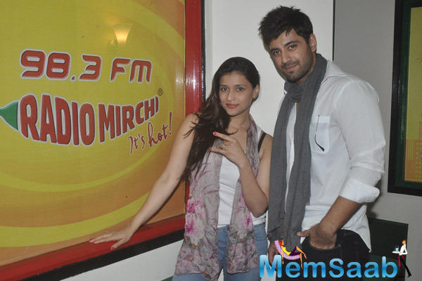 Mannara And Karanvir Sharma Cool Pose During The Promotion Of Zid At Radio Mirchi
