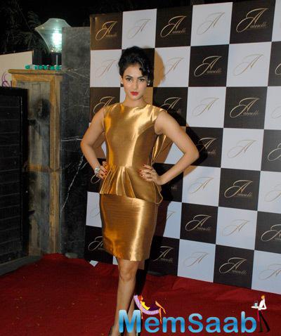 Sonal Chauhan Looked Stunning In A Golden Outfit With No Accessories Look