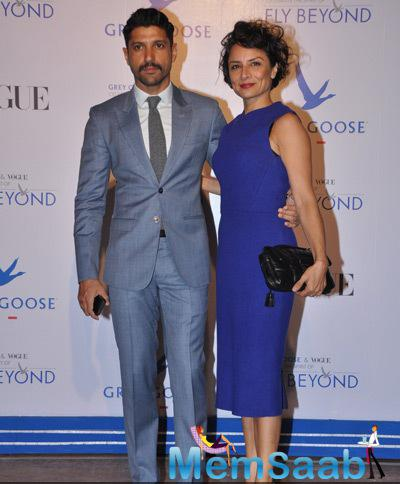 Farhan Akhtar Posed With Wife Adhuna Akhtar At Grey Goose Fly Beyond Awards 2014