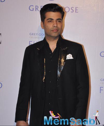 Karan Johar Dashing Look In Black Suit At Grey Goose Fly Beyond Awards 2014