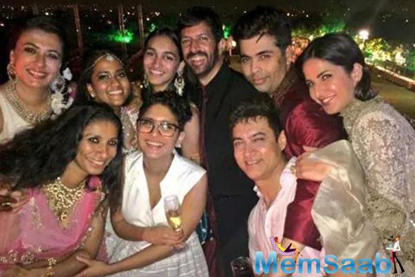 Mini Mathur,Arpita Khan,Kiran Rao,Kabir Khan,Karan Johar,Aamir Khan And Katrina Kaif Posed During Arpita Khan Wedding Ceremony