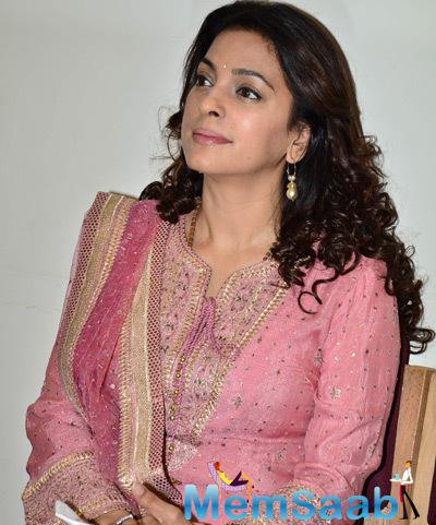 Juhi Chawla Stunning Look In Pink Dress During The Launch Of Aarambh India