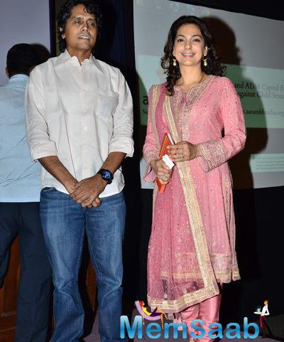 Nagesh Kukunoor And Juhi Chawla Posed For Camera During The Launch Of Aarambh India
