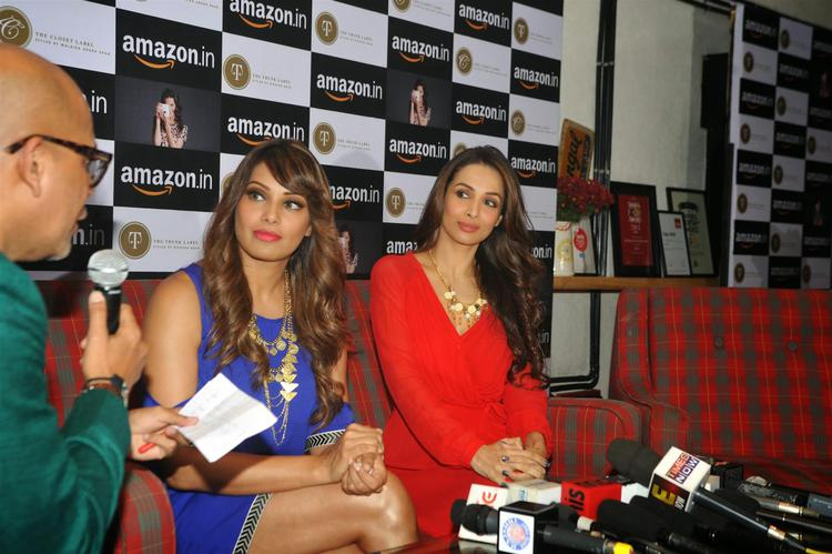 Bipasha Basu And Malaika Arora Khan During The Announcement Of Partnership Between Amazon.In And The Label Corp