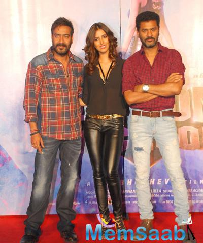 Ajay Devgan,Manasvi Mamgai And Prabhu Deva Posed During The Launch Of Action Jackson Song Gangster Baby