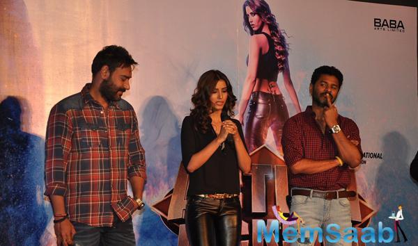 Manasvi Mamgai Spoke Some Words,Ajay Devgan And Prabhu Deva Look On During Action Jackson Movie Gangster Baby Song Launch