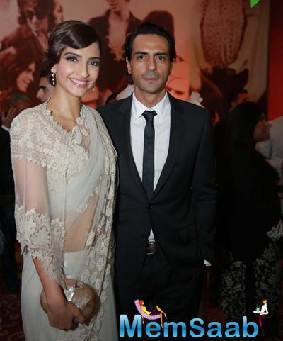 Sonam Kapoor And Arjun Rampal Strike A Pose During Anamika Khanna Store Launch