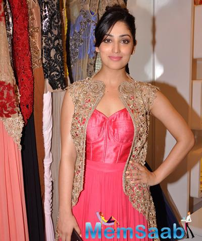 Yami Gautam Looked Graceful In A Pink Outfit With A Jacket During The Launch Of Sonaakshi Raaj Flagship Store