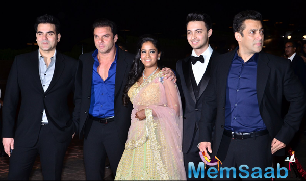 Salman Khan,Sohail Khan And Arbaaz Khan Posing With Darling Sister Arpita Khan And Her Husband Aayush Sharma