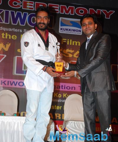 Ajay Devgan Honoured By Dan Black Belt By Taekwondo Masters From South Korea