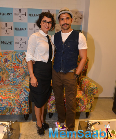 Farhan akhtar and wife adhuna akhtar at adhuna akhtar for Adhuna akhtar salon