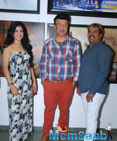 Anu Malik Posed With Friends During The Launch Of JS Art Gallery
