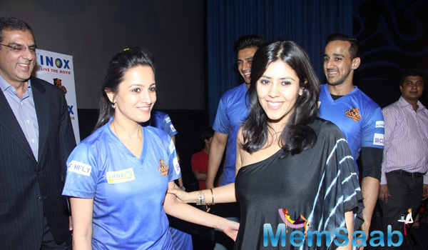 Anita Hassanandani And Ekta Kapoor Cool Look During Chandigarh BCL Press Meet