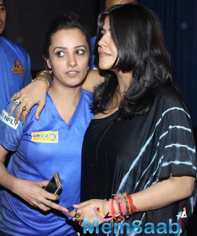 Anita Hassanandani And Ekta Kapoor Cozy Look During Chandigarh BCL Press Meet