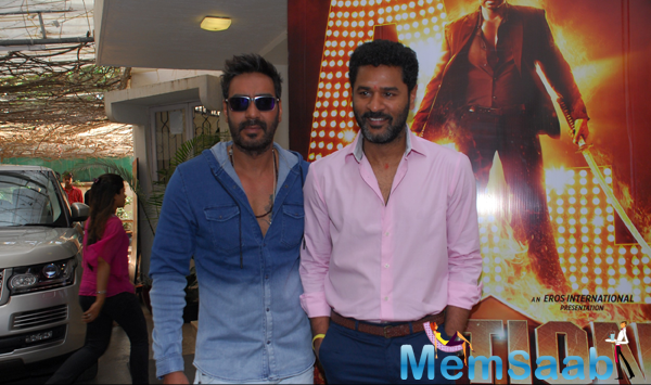 Ajay Devgan And Prabhu Deva Posed During The Launch Of Action Jackson Film Theme Song