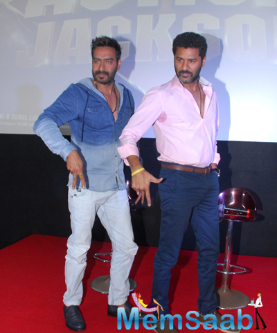 Ajay Devgan And Prabhu Deva Strikes A Pose At Action Jackson Film Theme Song Launch