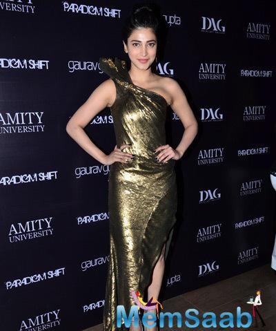 Shruti Haasan Sassy Look During The Launch Of Gaurav Gupta Store In Mumbai