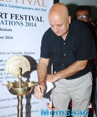 Anupam Kher Lights The Lamp During The Inauguration Of India Art Fest 2014