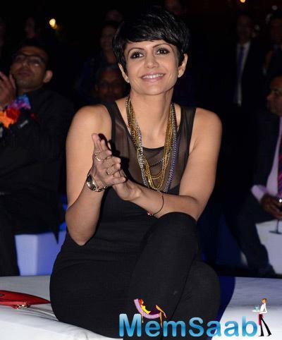 Mandira Bedi Smiling Look During British Airways Bash