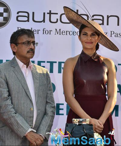 Jacqueline Fernandez Strike A Pose For Shutterbugs At Metro Motors Auto Hanger Sir H.M. Mehta Million Trophy