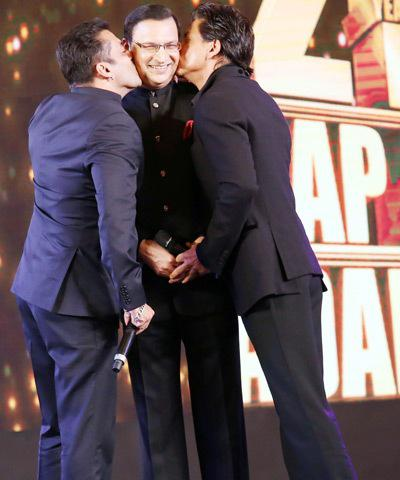 SRK And Salman Planted A Kiss On Mr Sharma's Cheeks