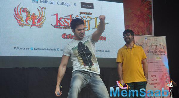 Varun Dhawan promoted his film Badlapur at Mitthibai college fest