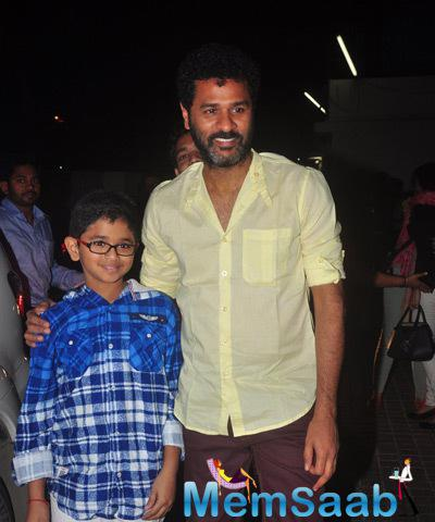 Prabhu Deva Spotted With His Son At The Screening Of Action Jackson