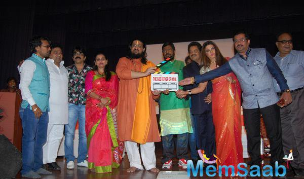 Ramdas Athawale,Udit Narayan,Rakhi Sawant And Others Posed During The Mahurat Of Film Godfather Of India