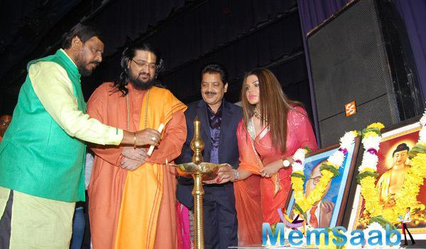 Udit Narayan And Rakhi Sawant Light The Candle At Biopic Movie The Godfather Of India Mahurat