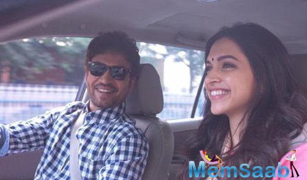 Irrfan Khan And Deepika Padukone Inside The Car On The Sets Of Piku