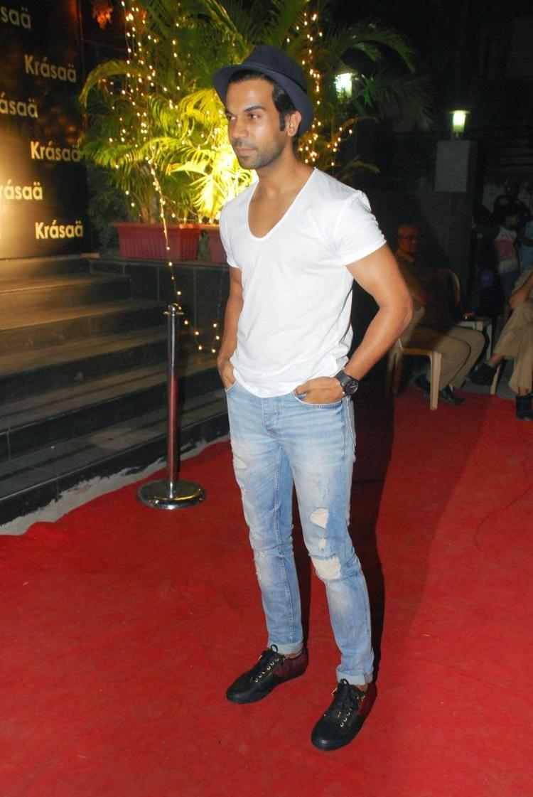 Rajkummar Rao Casual Look In White Tee And Jeans On Rad Carpet During Vikram Phadnis New Fashion Store Krasaa Launch
