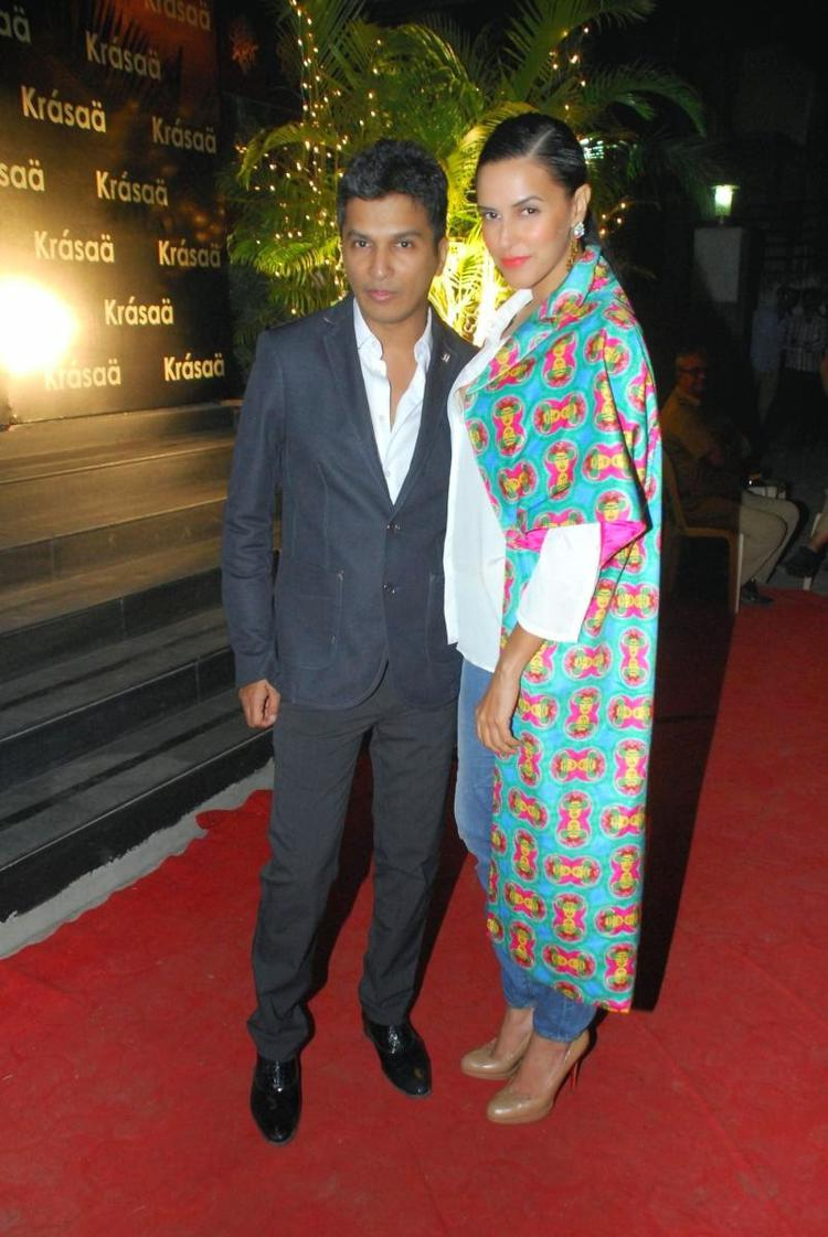 Vikram Phadnis Posed With Neha Dhupia On Red Carpet During His New Fashion Store Krasaa Launch