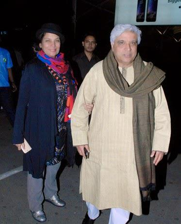 Javed Akhtar And Shabana Azmi Spotted At Mumbai Airport