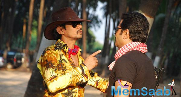 Vijay Raaz And Deepraj Rana Busy In Taking Shot On The Sets Of  Gun Pe Done Movie