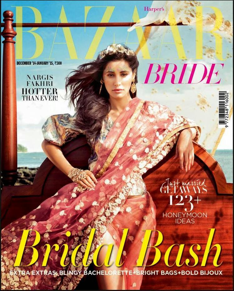 Nargis Fakhri Contemporary Hot Bride Look Shoot For Harper's Bazaar Bride December Issue