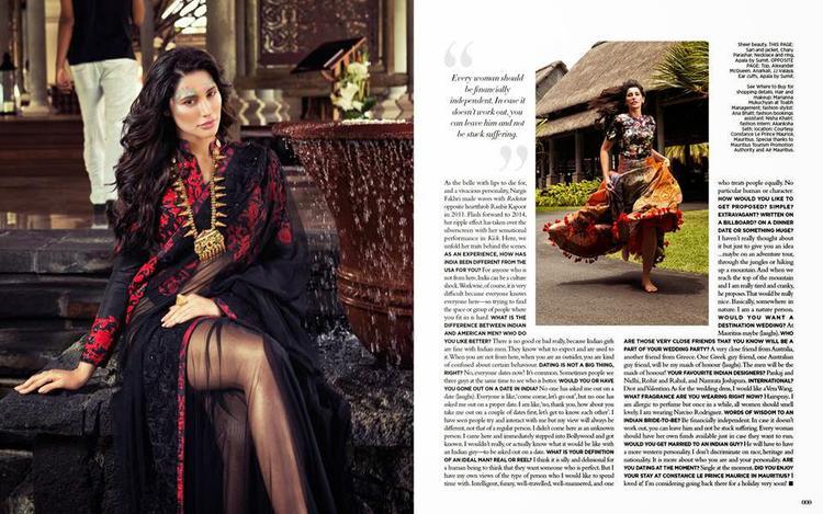 Nargis Fakhri Looking Hot Photo Shoot For Harper's Bazaar Magazine December 2014 Issue