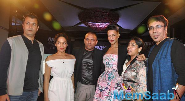 Neha Dhupia Posing With Group At Elle India Max Design Awards