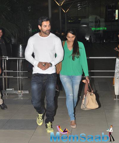 John Abraham and Priya Runchal Clicked At Mumbai Airport