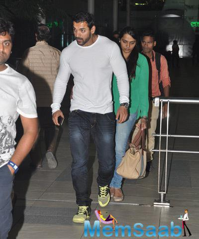 John Abraham Spotted With His Wife At Mumbai Airport