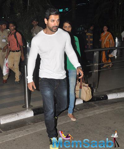 John And Priya Arrives At At Mumbai Airport