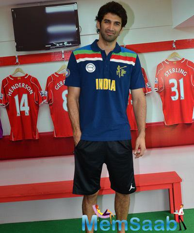 Aditya Roy Kapur Clicked During Barclays Premiere League 2014