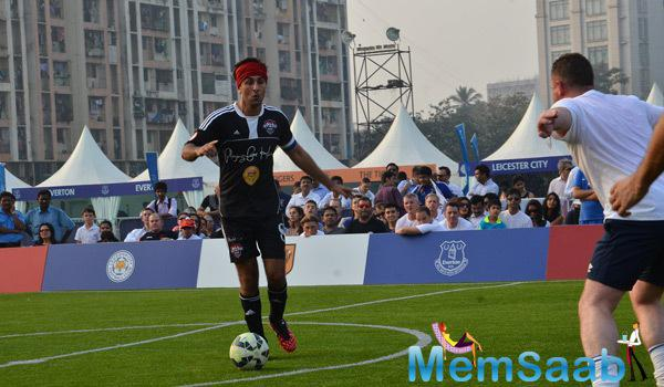 Ranbir Kapoor Playing A Shot During Barclays Premiere League 2014 Event