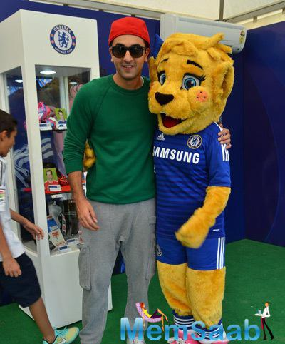 Ranbir Kapoor Posed With A Funny Mascot During Barclays Premiere League 2014